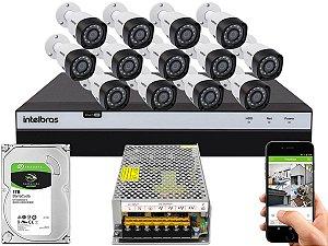 Kit CFTV Intelbras 13 Câmeras VHD 3230 B G4 e DVR de 16 Canais MHDX 3116 1TB Sem Cabo