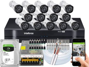 Kit CFTV Intelbras 14 Câmeras VHD 3230 B G4 e DVR de 16 Canais MHDX 1116 1TB