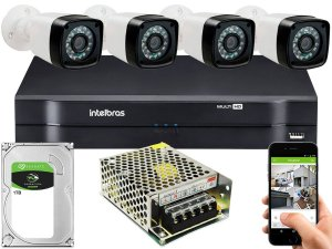 Kit CFTV 04 Câmeras Importadas e DVR de 04 Canais MHDX 1104 1TB Sem Cabo