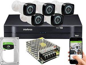 Kit CFTV 05 Câmeras Importadas e DVR de 08 Canais MHDX 1108 1TB Sem Cabo