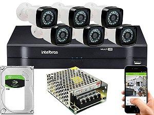 Kit CFTV 06 Câmeras Importadas e DVR de 08 Canais MHDX 1108 1TB Sem Cabo