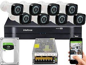 Kit CFTV 08 Câmeras Importadas e DVR de 08 Canais MHDX 1108 1TB Sem Cabo