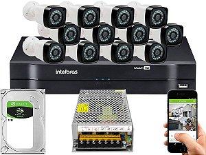 Kit CFTV 12 Câmeras Importadas e DVR de 16 Canais MHDX 1116 1TB Sem Cabo