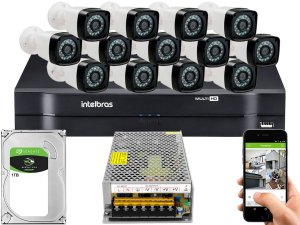 Kit CFTV 13 Câmeras Importadas e DVR de 16 Canais MHDX 1116 1TB Sem Cabo