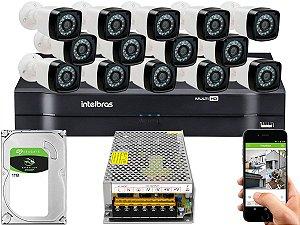 Kit CFTV 14 Câmeras Importadas e DVR de 16 Canais MHDX 1116 1TB Sem Cabo