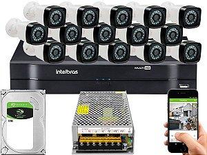 Kit CFTV 15 Câmeras Importadas e DVR de 16 Canais MHDX 1116 1TB Sem Cabo