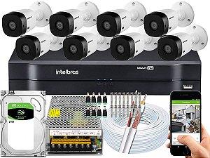 Kit CFTV Intelbras 08 Câmeras VHL 1220 B e DVR de 08 Canais MHDX 1108 2TB