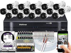 Kit CFTV Intelbras 16 Câmeras VHL 1220 B e DVR de 16 Canais MHDX 1116 2TB WD Purple