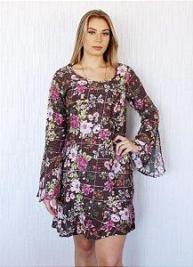 Vestido Florido Manga Longa
