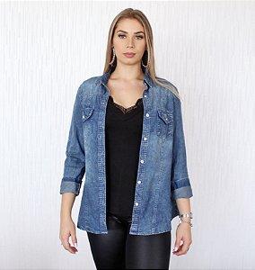 Camisa Jeans com efeito Manchado e desbotado