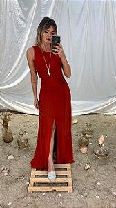 Vestido Malha Detalhe Couro
