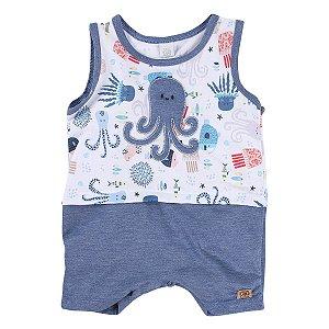 Macacão Verão Estampa Fundo do Mar Baby Gijo