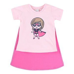 Camiseta Super Heroina com Capa Color Mini