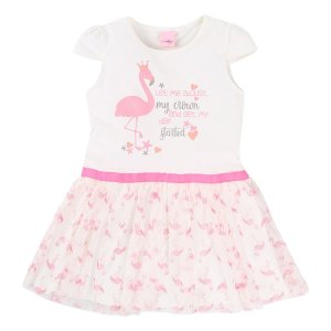 Vestido com Tule Flamingo Color Mini