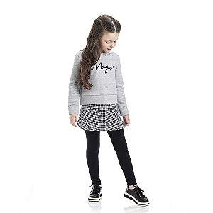 Conjunto Infantil Feminino Magic Blusa Moletom - Saia Cotton - Legging Cotton TMX