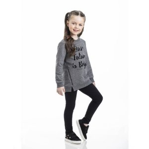 Conjunto Infantil Feminino Our Future is Bright Blusa Moleton - Legging Molecotton TMX