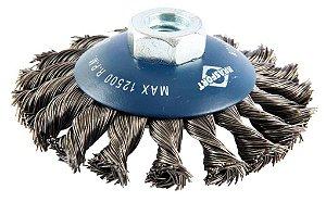 Escova De Aço Côncava Brasfort 7254 Trançada 4 X 1/2 X M14