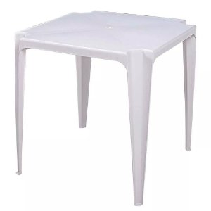 Mesa Plastica Quadrada 70 X 70 Branca