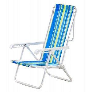 Cadeira De Praia Alumínio 5 Posições Colorida Botafogo