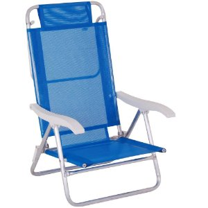 Cadeira 5 Pos Alum Extra Larga Com Apoio 2105 Azul