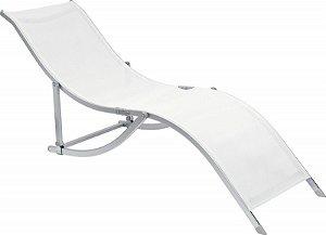 Cadeira Espreguiçadeira Em S Alumínio Textilene Branca,