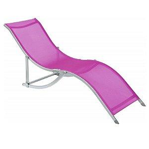 Cadeira Espreguiçadeira Em S Alumínio Textilene Rosa,