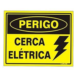 Placa Pvc 15 X 20 Perigo Cerca Eletrica Amarela 2 Furos