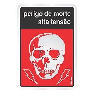 Placa Em Alumínio 16x23 Perigo De Morte Alta Tensão