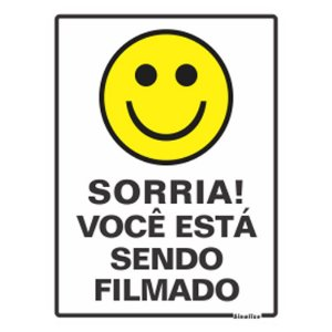 Placa 15 X 20 Poliestireno Sorria Voce Esta Sendo Filmado