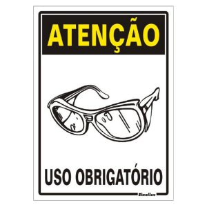 Placa Poliestireno 20x30 Atenção Uso Obrigatório De Óculos
