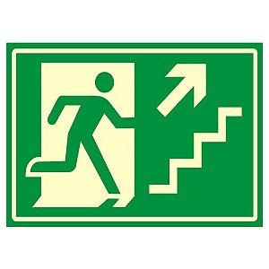 Placa Fotoluminescente 20 X 30 Saida Emergencia Escada Direi