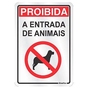 Placa Em Aluminio 16 X 23 Proibida Entrada De Animais