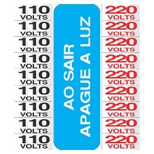 Placa Em Aluminio 15 X 15 Etiqueta De Voltagens 110/220 Volt