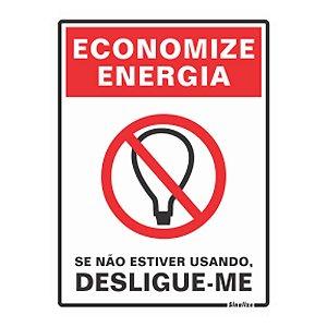 Placa Sinalizadora Economize Energia 15x20cm Sinalize 220AO