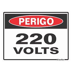 Placa De Poliestireno Auto-adesiva 20x15cm Perigo 220 Volts - 220 Ay - Sinalize