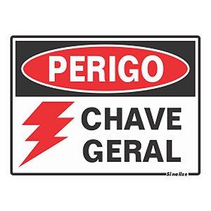 PLACA 15 X 20 POLIESTIRENO PERIGO CHAVE GERAL