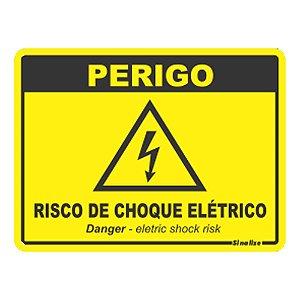 Placa De Poliestireno Auto-adesiva 15x20cm Perigo Risco De Choque Elétrico - 220 By - Sinalize