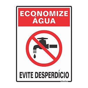 Placa De Sinalização Em Pvc Economize Água - Sinalize