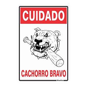 PLACA POLIESTIRENO 20 X 30 CUIDADO CACHORRO BRAVO
