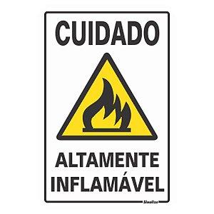 Placa De Poliestireno Auto-adesiva 20x30cm Cuidado Altamente Inflamável - 250 Am - Sinalize