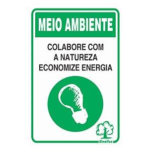 Placa De Poliestireno Auto-adesiva 20x30cm Economize Energia - 250 Cb - Sinalize