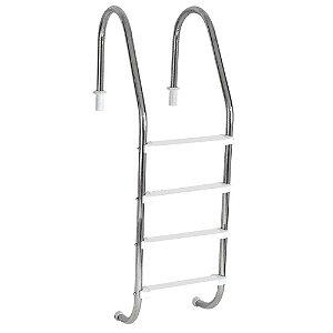 Escada Tradicional 1.1/2 Pol. Aço Inox 4 Degraus Anatômicos