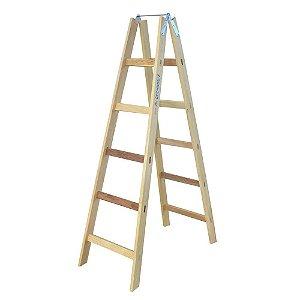 Escada De Madeira Tipo Pintor 8 Degraus 2.30m