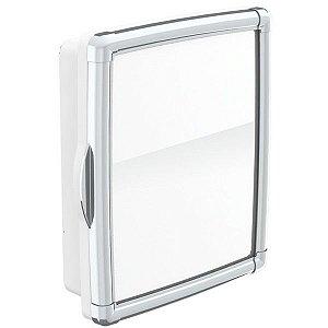 Armario Banheiro Com Moldura Cromada Branco Ref 68013