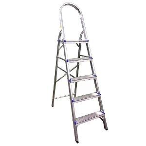 Escada Aluminio Dobravel Leve 5 Degraus Cee05d Eaeco005