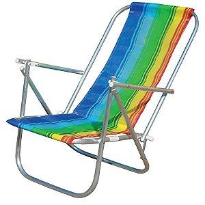 Cadeira De Praia Alumínio 2 Posições Colorida Botafogo