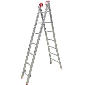 Escada Multifuncional 3 Em 1 Em Alumínio 2 X 7 Degraus
