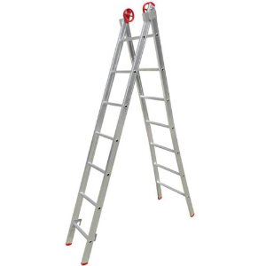 Escada Multifuncional 3 Em 1 Em Alumínio 2 X 9 Degraus