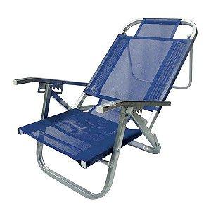 Cadeira De Praia Reclinável Copacabana Azul Botafogo