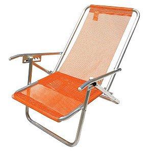 Cadeira 5 Posições Aluminio Extra Larga Cad0215 Laranja